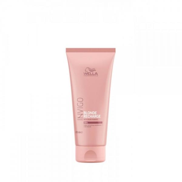 Balsam pentru pastrarea culorii pentru par vopsit blond rece Wella Professionals Invigo Recharge Cool Blonde, 200 ml