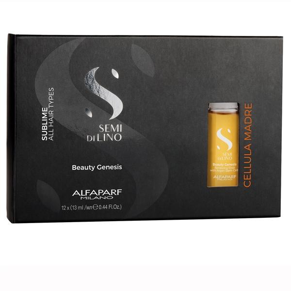 Elixir de regenerare cu celule stem de argan Alfaparf Semi di Lino Sublime Cel Madre Beauty Genesis, 12x13 ml