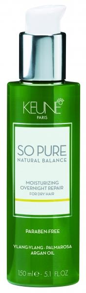 Tratament hidratant de noapte fara clatire pentru par deteriorat Keune So Pure Moisturizing, 150ml